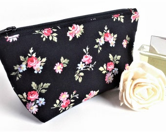 Black Makeup Bag - Lipstick Holder - Cosmetic Bag - Bridesmaid Gift - Gift for Her - Womens Birthday Gift - Floral Zipper Pouch