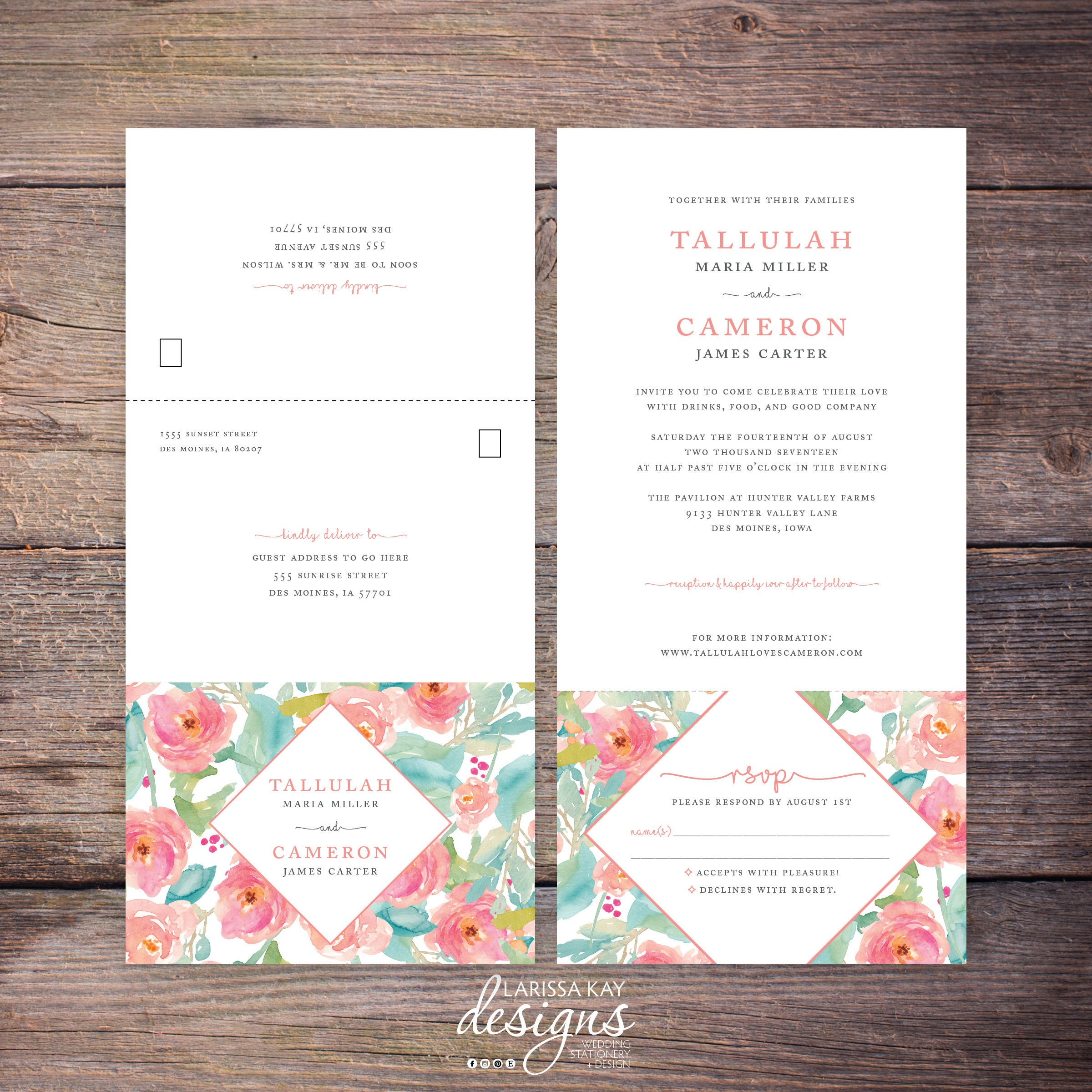Printable Flower Watercolor Seal and Send Wedding Invite