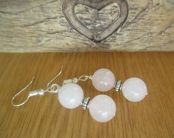 Rose Quartz Beaded Drop Earrings