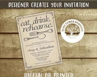 Printable Rehearsal dinner invitation template, wedding dinner, dinner party, fork, spoon