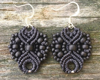 SALE Micro-Macrame Earrings - Matte Black
