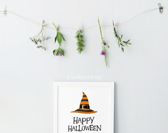 Happy halloween wall art - Halloween decorations - Halloween kids - Cute halloween - Girls boys on costumes - Printable halloween