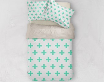 Scandinavian Duvet, Scandinavian Bedding, Swiss Cross Decor, Doona Cover, Duvet Cover Queen, King Duvet Cover Set, Twin Duvet Cover, Doona