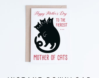 Printable Mother's Day Card, Funny Mother of Cats Card Instant Download, Mothering Sunday Cards, Black Cat Sigil, For Mum, For Mom, Fur Mom
