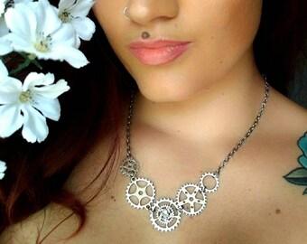 Silver steampunk gear necklace