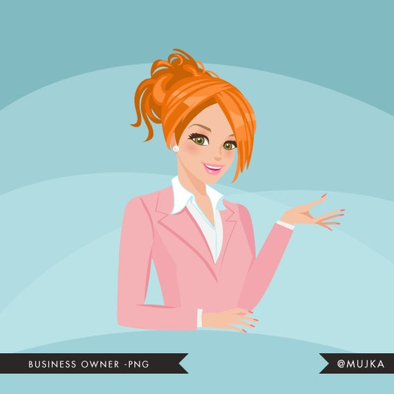 Real Avatar Girl: Business Owner Shop Owner Avatar Design. Red Blonde Character