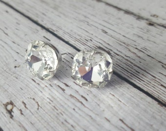 Large Clear Crystal Stud Earrings, Purchase 3 or more get 10% off