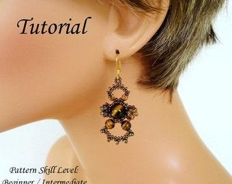 TIGEREYE beaded earrings beading tutorial beadweaving pattern peyote seed beads jewelry beadweaving tutorial beading pattern instructions
