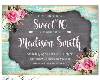 16th birthday invite etsy sweet 16 invitation rustic 16th birthday invite sweet sixteen birthday party invitations rustic filmwisefo Image collections