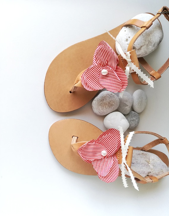 20b5aea5ed5 Sandals Wedding Bridesmaid Sandals Pearl Sandals Sandals Greek Sandals  Sandals Party Flats White Leather Red Flower ...