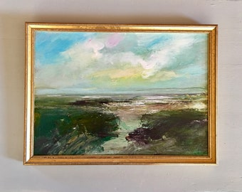Beach Painting-- Painting -Original - Framed Art -9-3/4 x 13 including frame- Ready to Hang- Path- Lighted Sky-Earth-Path