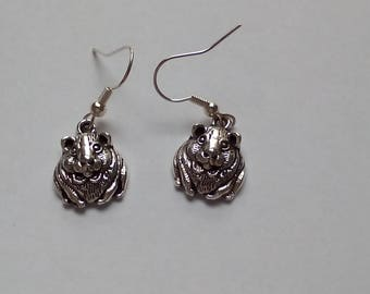 Silver metal coloured guinea pig/hamster charm Earrings