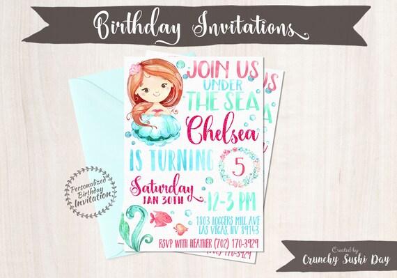 Mermaid Birthday Invitations, Mermaid Birthday Party, Customizable, Beach, Girl Birthday, Printable Invitations, Pink, Teal, Red Hair 066