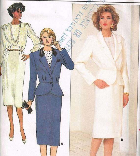 80er Jahre Womens Anzug Muster Butt 3985 Büste 30 1/2 bis 32
