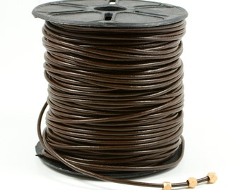 Dark Brown Leather Cord, 2mm, Round Leather Cord, Lead Free Leather Cord, Genuine Leather Cord