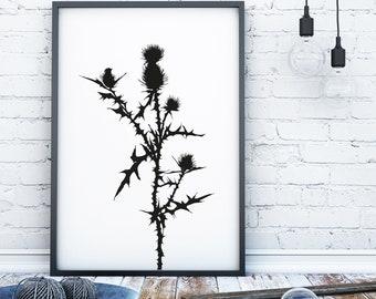 Floral print minimalist wall art print monochrome print black and white print scandi print flower wall art minimalist flower