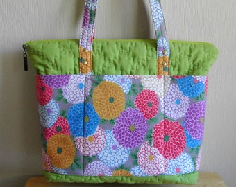 Large Quilted Purse, Colorful Floral Purse, Footed Purse, Laptop Purse, Kentucky Crafted