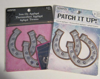 "Embroidered HORSESHOES Iron-on/Sew on Patch Badge Applique 3"" set of 2"