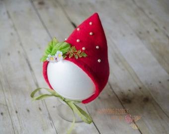 Strawberry hat, Strawberry bonnet, Strawberry costume, Red strawberry bonnet