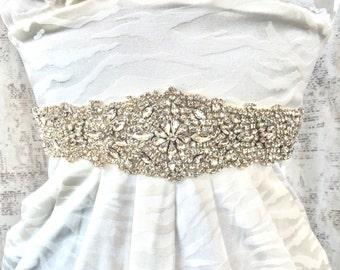 Crystal Sash, Wedding Sash, Crystal bridal sash, bridal sash, crystal rhinestone sash, wide sash, rhinestone sash belt, crystal belt