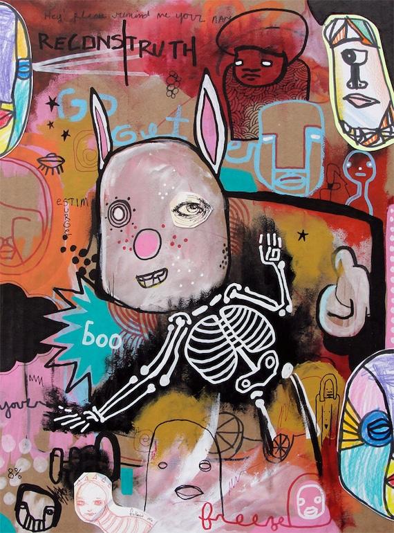 Boo Freeze - Original Mixed Media Painting