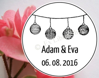 "Personalized wedding stamp ""round paper lanterns"", wedding, wedding DIY, custom name stamp, personalized stamp, save the date stamp, 853"