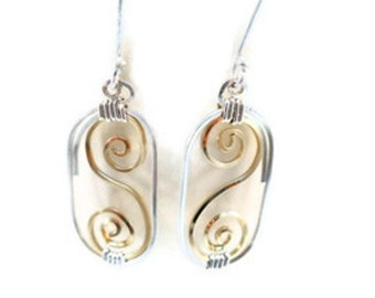 Filigree Earrings Wire Wrapped Gold and Sterling Silver Jewelry Dangle Drop Oval