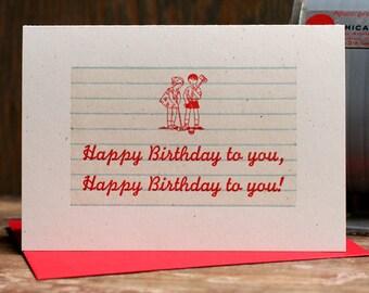 Happy Birthday To You croquet kids letterpress card