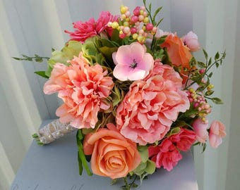 Wedding bouquet, Coral peach peony bouquet, Wildflower bouquet, Spring bridal flowers