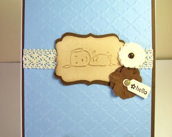 Embossed Dog Hello Blank Handmade Note Card