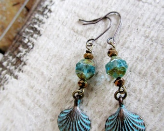 Blue Patina Shell Earrings, Verdigris Boho Dangles, Hippie Earrings, Beach Jewelry,