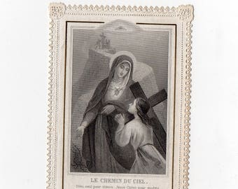 Antique French lace Canivet HOLY Card, religious, pious