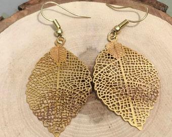 Gold Leaf Earrings, Gold Leaf Stamped Dangle Drop Earrings, Delicate Lightweight Gold Leaf Earrings