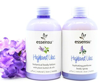 Highland Lilac Hydrating Natural Perfume Body Spray and Lilac Botanical Body Lotion Duo | Spa Gift Set | Gift For Her | Vegan - 4 oz each