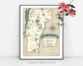 VERMONT MAP PRINT - fun 1930's vintage picture map to frame - perfect housewarming or wedding gift - size & color choices - personalize it