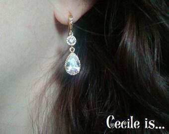 Crystal and gold bridal earrings - Wedding earrings - Bridesmaids earrings gift - Cubic crystal drop earrings