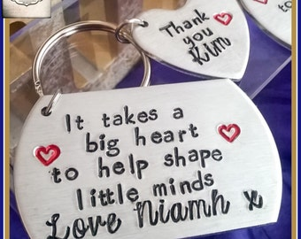 It Takes A Big Heart To Help Shape Little Minds Keyring - Personalised It Takes A Big Heart Keyring - Personalised Teacher Keyring