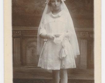 Belgian First Communion Photo Postcard, c. 1920