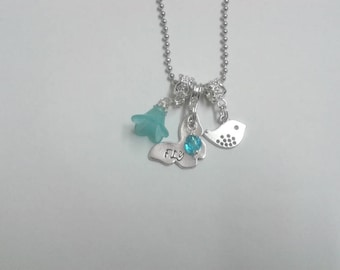 """Hand Stamped """"FLY"""" Butterfly, Bird Necklace"""