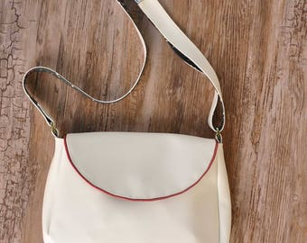 Sparkly red and white handbag