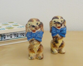 Vintage Dogs with Bows Salt and Pepper Shakers - Made in Japan