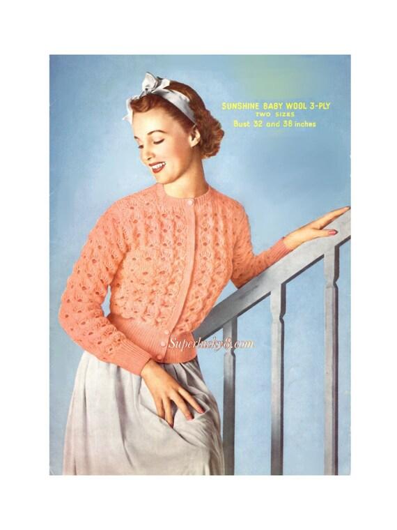 Vintage Bed Jacket Knitting Pattern In Pdf Instant Download Version