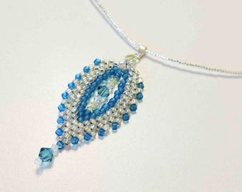 Ocean Blue and Silver Glass Seed Bead Necklace Leaf Shaped