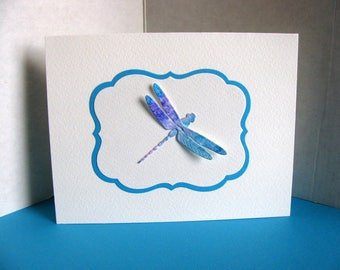 Watercoloured Dragonfly on Turquoise and Ivory Panel on Creamy Ivory Card / Deep Turquoise / A2 Size / Ready to Ship