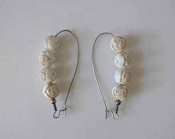 vintage rosette bead dangle earrings in white