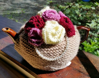 Hand Knitted Rose Tea Cosie - Suits a 4 Cup Teapot