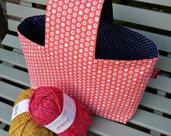 """Project bag """"Orange"""", lined and interfaced, Leukgemaakt, knitting project bag, on-the-go bag, gift for women, crochet, birthday Christmas"""
