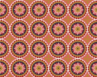 La Vie Boheme Riley Blake Fabric SC4742 Red Medallion Fabric, Gypsy Fabric, Bohemian Fabric, Metallic Gold, Boho Cotton Fabric