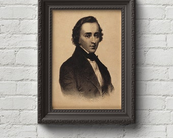 Chopin Portrait Print, Wall Art, Art, Woodcut, Engraving, Composer, Symphony, Music, Classical, Piano, Cute Gift