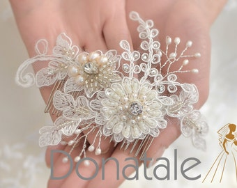 Wedding Hair comb Wedding Hairpiece Bridal Hair Flowers Ivory Bridal  Lace Headpiece Wedding Hair Piece  Rustic  Ivory Hair Flowers - EMILIA